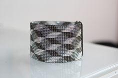 Bracelet manchette tissé en perles de rocaille MIYUKI : Perles de Rocaille par pegase