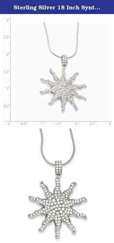 Sterling Silver 18 Inch Synthetic Cz Sun Necklace. This gorgeous rhodium-plated sterling silver & cz sun necklace crafted from sterling silver which is safely secured in a lobster clasp. Chain Length: 18 In Chain Width: 1 Mm Item Weight: 8.25 Gm Charm Length: 37 Mm Charm Width: 35 Mm Bail Length: 8 Mm Bail Width: 4 Mm Average Weight: 8.25 Gm Attributes: * Lobster * Sterling Silver * Cz * Rhodium Plated * 2&quot * Extension * Snake Chain * 135 Stones Metal: Sterling Silver Country Of…