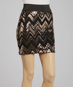 Take a look at this Rose Gold Chevron Sequin Mini Skirt by Adrienne on #zulily today! $20 !!