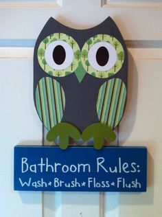 Wooden Owl Bathroom Rules Sign by TheWoodenOwl on Etsy, $29.99
