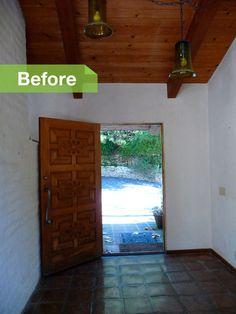 BEFORE: Original white brick masonry and terra-cotta tile made up the entryway.