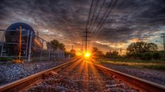 awesome sunset over train tracks hdr - Desktop Nexus Wallpapers Trippy Wallpaper, Sunset Wallpaper, Trippy Pictures, Train Tracks, Beautiful Sunset, Art And Architecture, Railroad Tracks, Paths, Awesome