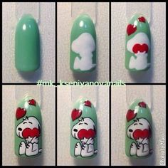Snoopy cartoon nail art design tutorial | DIY step by step Snoopy cartoon nails