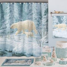 Arctic Arrival Bear Shower Curtain-Animal Print Bathroom Accessories