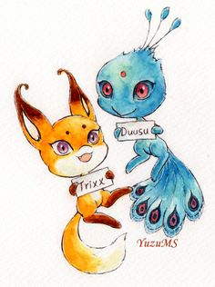 I don't know if you guys know this yet,but the names for the fox and peacock kwamis are Trixx and Duusu