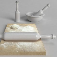 Designer Marcial Ahsayane of Brussels has designed an oil bottle and pestle that combine to make a rolling pin.