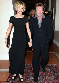 Singer John Mellencamp - pictured here with girlfriend Meg Ryan - is dealing with the news his two sons have been charged with felony battery Peinados Meg Ryan, Meg Ryan Hairstyles, Bob Haircut Curly, Curly Haircuts, John Mellencamp, Face Shape Hairstyles, Famous Photos, Famous Couples, Movie Couples