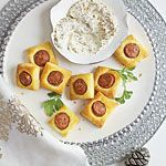 Chicken Sausage Puffs with Creamy Mustard Dipping Sauce Recipe | MyRecipes.com