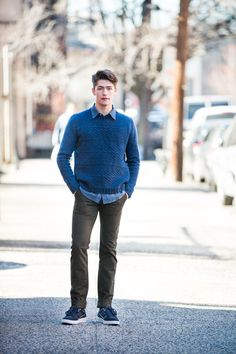 """Albion modern guernsey pullover by Michele Wang. Shown in color """"Almanac"""". From Brooklyn Tweed's """"BT Men Volume 2"""" Collection. Photographed by Jared Flood. #btmenvolume2 #brooklyntweed #madeinUSA #shelteryarn #loftyarn #albion #pullover"""
