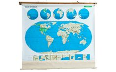 Vintage Markable World Pull Down Map - Old New House Pull Down Map, Mounting Brackets, Custom Items, Old And New, Blush Pink, Aqua, New Homes, World, Artwork