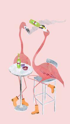 """@Behance projeme göz atın: """"flamingo night"""" https://www.behance.net/gallery/46754959/flamingo-night  digital illustration flamingos"""