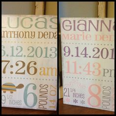 Personalized birth sign - hand painted - sign for your childs room or nursery -