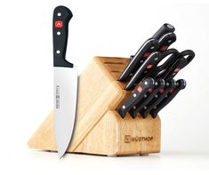 Wusthof Gourmet Knife Block Set Black - These knives are made of high carbon German no-stain steel. The compound tapered blades are laser tested for sharpness and the correct cutting angle. Knife Block Set, Knife Sets, Steak Knives, Utility Knife, Dry Hands, Cool Knives, Liquid Soap, Chef Knife, Kitchen Knives