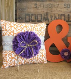 Ring Pillow for a Burnt Orange and Plum Purple Wedding Rustic Wedding Pillow Wedding Ring Pillow Ring Bearer Pillow