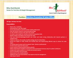 Miss Nutritionist- Center for Nutrition & Weight Management - Position: Nutrition Promotion & Sales Officer - Jobs Circular Nutrition Jobs, Nutrition Program, Nutrition Guide, Nutrition Education, Health And Nutrition, Precision Nutrition, Job Circular, Vegetable Nutrition, Masters Programs