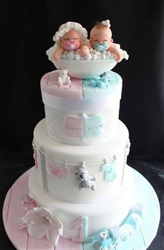 pink and blue baby shower cake for twins (Baby Cake) Pretty Cakes, Cute Cakes, Beautiful Cakes, Yummy Cakes, Twin Baby Shower Cake, Baby Shower Cake Designs, Gateau Baby Shower, Twins Cake, Cakes For Twins