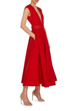Paule Ka Cap Sleeve Volumed Dress With Nude Illusion V-Neck