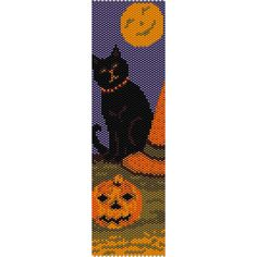 Halloween Cat Peyote Bead Pattern, Bracelet Cuff, Bookmark, Seed Beading Pattern Miyuki Delica Size 11 Beads - PDF Instant Download