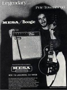 Pete Townshend Advertising Mesa/Boogie in 1978.