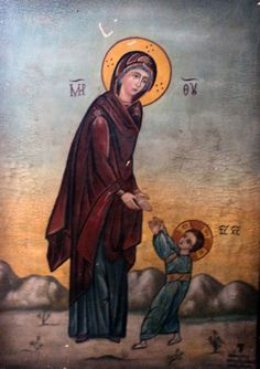 """Madonna che insegna a Gesù a compiere i primi passi. This is a rare icon in the Orthodox Church: it is called """"The first steps of Jesus"""". Religious Images, Religious Icons, Religious Art, Madonna, Greek Icons, Images Of Mary, Russian Icons, Religious Paintings, The Embrace"""