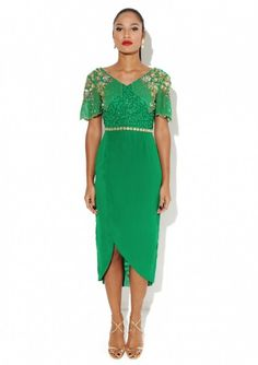 "Embellished Dress Made from a lightweight poly fabricStatement dress featuring multicolored embellishmentBeaded and sequin encrusted shoulder detailMidi wrap skirt Fabric:100 % Polyester Care: Delicate Hand Wash Model is a size 8 and wearing a UK size 8 Model Height: 5""8, Reena Green Dress, REENAGREENDRESS"