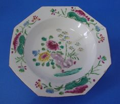 BOW ENGLISH PORCELAIN BOWL DISH WITH FAMILLE ROSE DECORATION c1755-60  £145