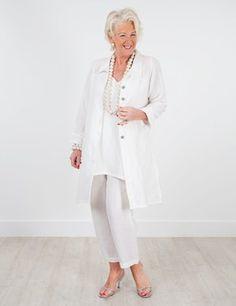 Plus size Jubilee cream jacket, Tetbury vest and Rossett trouser