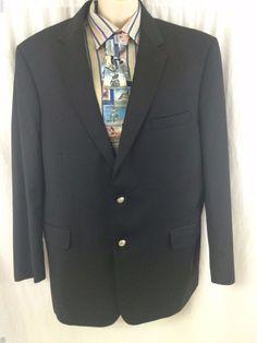 Jos A Bank Black Sport Coat Signature Gold 46R Wool Silver Buttons Gordon Model #JosABank #TwoButton