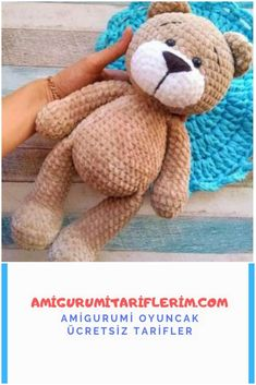 We are here with a soft amigurumi teddy bear production. Prepare your velvet yarn and let's star Crochet Bear, Crochet Animals, Baby Knitting Patterns, Crochet Patterns, Amigurumi For Beginners, Amigurumi Toys, Owl, Teddy Bear, Crochet Projects