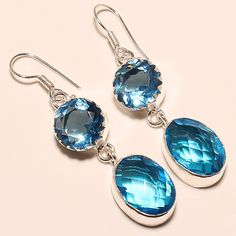 Dangle Earrings – Dangle And Drop - 925 Silver Blue Topaz Earrings  – a unique product by 925silvercollection on DaWanda