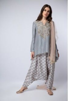94284952aa Payal Singhal New Arrivals Collection : LAVENDER EMBROIDERED KURTA WITH  DHOTI PANTS AND DUPATTA Indian Outfits