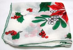 Vintage Hankie, Christmas Handkerchief, Handkerchief, Vintage  Handkerchief, Poinsettia Handkerchief, Handkerchiefs, holiday hankie - pinned by pin4etsy.com