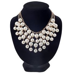 Luxurious Multi Layered Statement Necklace / Collier / Choker With White Faux Pearls On Golden Colored Chains By VAGA VAGA http://www.amazon.com/dp/B00T4AZFH0/ref=cm_sw_r_pi_dp_-KlLvb19PF1ET
