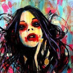Imagen vía We Heart It https://weheartit.com/entry/9115195 #blackeyes #contemporaryart #dark #girl #JoshuaPetker #lowbrow #modernart #painting #pastels #popsurrealism #visualart #huntingforvampires #losangelesartist #darkthemebrightcolors #paintingbyjoshuapetker #artbyjoshuapetker