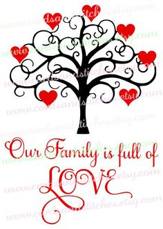 Family Tree - Valentine Tree - Heart Tree - Digital Cutting File - Instant Download - Graphic Design - Svg, Dxf, Jpg, Eps, Png