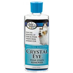 Four Paws Crystal Eye Tear Stain Remover Dog Cat Healing Remedies 8 oz Bottle Tear Stain Removal, Pet Hair Removal, Tears In Eyes, Tear Stains, Remove Stains, Perfume, Buy Crystals, Cat Grooming, Crystals
