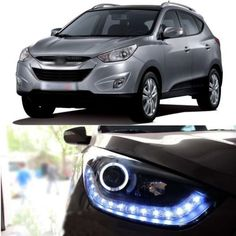 597.55$  Watch now - http://aliabf.worldwells.pw/go.php?t=1784446993 - Snow Diamond LED DRL Headlight with Angel Eye for Hyundai Tuscon ix35 2010-2012