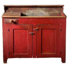 Antique Primitive 1800's Oak Dry Sink Cabinet With Shelves ...