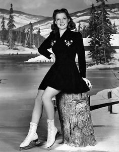 Ann Sheridan looking lovely in a cute ice skating outfit. #vintage #winter #sports #skating #actresses