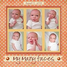 My Many Faces // Baby book scrapbook title idea Baby Boy Scrapbook, Scrapbook Bebe, Paper Bag Scrapbook, Baby Scrapbook Pages, Birthday Scrapbook, Scrapbook Page Layouts, Scrapbook Supplies, Scrapbook Cards, Simple Scrapbooking Layouts