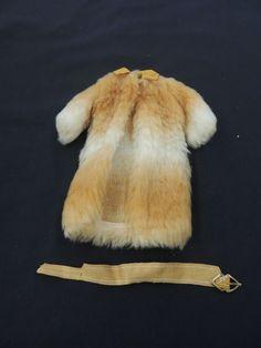 Vintage Brown White Faux Fur Wool Ankle Length Coat Belt Barbie Doll Clothes WOW