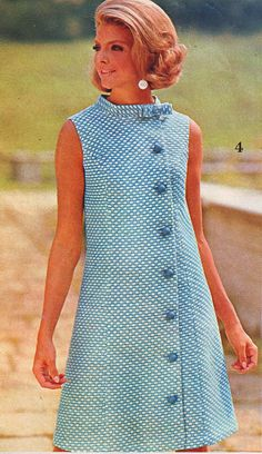 New ideas moda vintage fashion silhouette 60s And 70s Fashion, Mod Fashion, Vintage Fashion, Vestidos Vintage, Vintage Dresses, Vintage Outfits, Blue Dresses, Moda Vintage, Vintage Mode