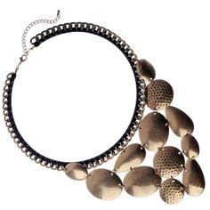 FAshion jewellery. RueB Black Statement Collar with Burnished Gold Design