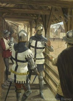 """Heinrich von Plauen, commander of the Teutonic Knights' defences at Marienburg Castle, calms his companions as a missile from one of the Polish-Lithuanian siege weapons crashes through the roof, during the siege that followed the battle of Tannenberg in 1410. Gouache painting by Graham Turner - image size 13""x 17"" (33 x 43cm)"""