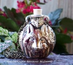 Old European Master Crafted Magical Arts™ Magick, Witchcraft, Magical Jewelry, Bottle Necklace, Oil Bottle, Ceramic Beads, Alchemy, Wolf, Artisan