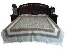 Indian Bedcover White Yellow Floral Printed Cotton India Designs Bedspread Mogul Interior http://www.amazon.com/dp/B00QRKQTJI/ref=cm_sw_r_pi_dp_jHKIub1JWC0TW