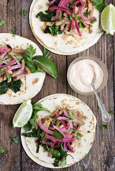 Porchetta Tacos with Broccoli Rabe, Pickled Onions and Chipotle Mayo Porchetta Tacos with Rapini, Pickled Onions and Chipotle Mayo Recipes Using Pork, Pork Recipes For Dinner, Supper Recipes, Cooking Recipes, Tostadas, Tacos, Chipotle Mayo, Quesadillas, Burritos