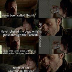 Rick & Daryl playing drinking games. Round 5