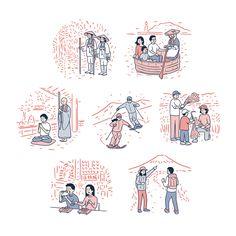 Okamura Yuta & 岡村優太 Illustrator & イラストレーター - Live in Tokyo. Art And Illustration, People Illustration, Business Illustration, Portrait Illustration, Illustrations And Posters, Buch Design, Portrait Sketches, Cute Stickers, Drawing Reference