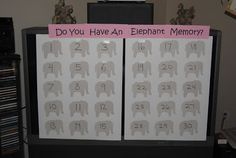 Do you have an elephant memory? Baby shower game - for elephant or safari themed baby showers